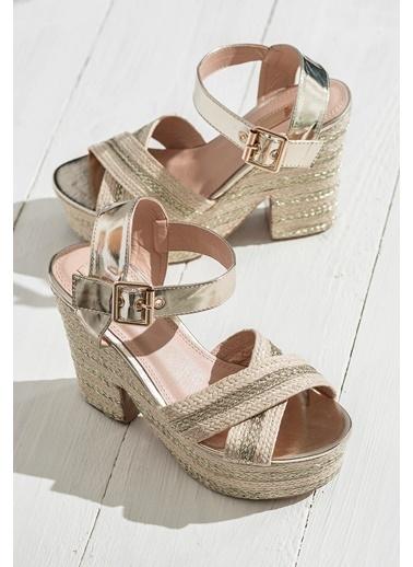 Hasır Topuklu Ayakkabı-Elle
